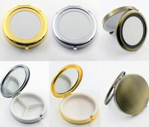 7см металл круглого зеркало Pill коробка держатель 3 отсеки медицины Case Container Малого Очага макияж Компактные Зеркала для хранения Организатор RRA2870