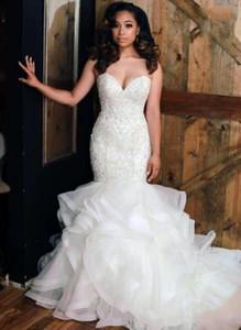 2020 African Sweetheart Organza Mermaid Wedding Dresses Bead Stones Top Layered Ruffles Plus Size Wedding Bridal Gowns robe de mariée