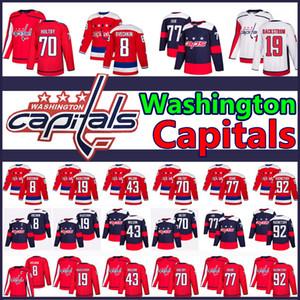 Los hombres de capitales de Washington Jersey 8 Alex Ovechkin Nicklas Backstrom Tom Wilson Braden Holtby T. J. jsereys OSHIE Evgeny Kuznetsov NHL