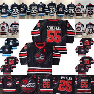 55 Mark Scheifele Jersey 26 Blake Wheeler 33 Dustin Byfuglien 29 Patrik Teemu Selanne Lainé 13 Jets de Winnipeg Hockey Maillots Marine Blanc