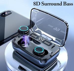 Pantalla inalámbrica Bluetooth auriculares LED táctil digital 8D TWS 5.0 auriculares M11 3300mAh el Powerbank de carga Auriculares Funda impermeable V5.0 Auriculares