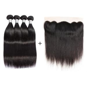 Nami brasileña Cabello liso Virgen paquetes de pelo Con 13x4 cierre Fronta 100% extensiones del pelo humano del cordón con el oído hasta el cierre del oído