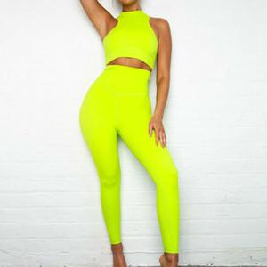 Frauen-Sommer-Yoga Sport Gym Legging elastische Hose Set Weibliche Ärmel beiläufige Art und Weise Sport Jogging Workout Anzüge Outfits