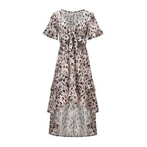 Женщины 2019 Летние горячие продажи Асимметричные платья с белыми рукавами Женская бабочка с леопардовым принтом и V-образным вырезом с нерегулярным шифоновым платьем из ласточкиного хвоста
