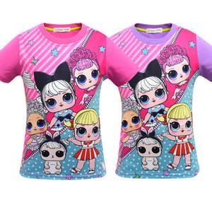 T shirt 3D impressão a cores Novas Meninas Dos Desenhos Animados de manga Curta T-shirt de Verão Respirável para crianças desgaste Crianças Crianças Outwear Top Roupas 3414