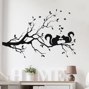 حار بيع السنجاب في لونغ شجرة فرع الجدار ملصق الحيوانات القطط 3D فن ملصق مائي لغرفة الاطفال ديكور المنزل أنيق جديد