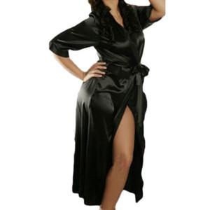 2020 새로운 여성 기모노 새틴 섹시한 실크 가운 블랙 실크 드레싱 가운 섹시한 가운 목욕 가운 신부 파티 가운을 여자