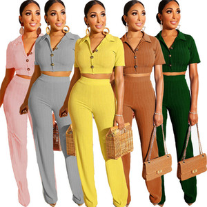 Womens Designer Two Piece Pants Solid Color Short Sleeve Womens Lapel Neck Sets Ladies Casual Sets