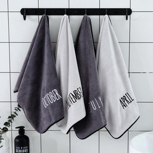 soft microfiber sport gym towels white embroidered monthly washcloth for face hand hair bathroom grey towel