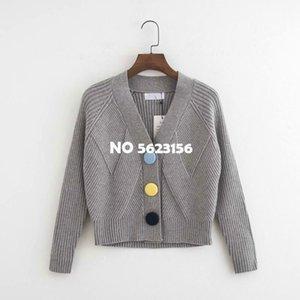 Gris Femme Cardigan 2020 Bureau Printemps New Fashion Lady élégant coton Chandails de haute qualité