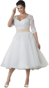 Women's Half Sleeve Tea Length Lace Beach Wedding Dress Plus Size For Bride Plus Size Wedding Dresses Bridal Gowns
