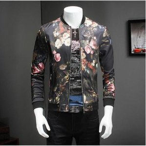 Wholesale- Casual Jacket Men Fashion Designer Floral Mens aviator Jackets Quality Coat Male Slim Fit Bomber Jacket For Men Clothing