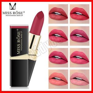 2019 Nuovo Trucco labbra Miss Rose opaco Rossetto Gloss 42 colori tubo nero rossetto nude idratante