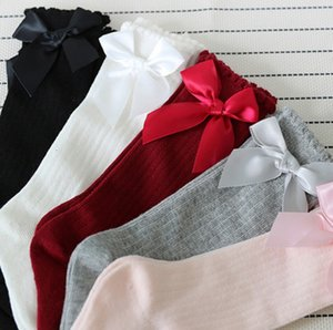Novo design Kids Socks Crianças Meninas Big Bow Knee High longa algodão macio Lace Meias bebê