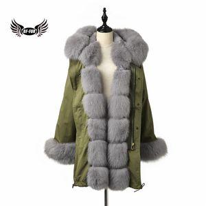 2019 BFFUR Gerçek Kürk Parka Kadınlar Ordusu Yeşil Ceket hakiki ile natrual Kürk Manşet Kapşonlu Kadın Kıyafet Rusya Winter Park
