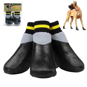 4pcs / PORTIER imperméable nonslip anti-tache Chien Chat Chaussettes Chaussures bottillons Wth Semelle en caoutchouc Pet Paw protecteur pour les petites gros chien