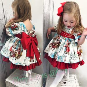 2019 Yeni Noel Santa Elbise Bebek Çocuk Kız Bebek XMAS Tutu Elbise Flared Parti Santa Noel Giyim 2-6T Salıncak