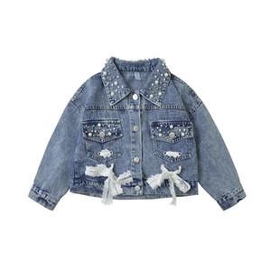 Nuevo otoño de la niña de la perla del cordón denim diseño Escudo exterior de la manga larga prendas de vestir exteriores de la chaqueta ropa