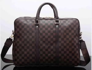 Homens de Negócios Briefcase Bag PU Designer de couro de luxo Laptop Bag Escritório grande capacidade Pasta Masculino Bolsas de Ombro