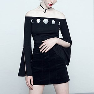 أسود قبالة الكتف مثير داخلية المرأة شيك كم طويل القوطية القمر المرحلة نمط الظلام الأزياء ثوب فضفاض أنثى بذلة الصيف