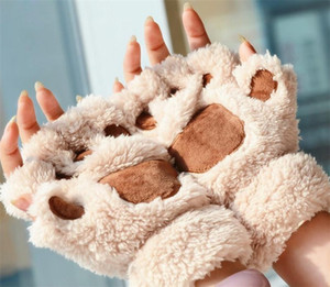 Women Girl Children Winter Fingerless Fluffy Plush Gloves Mittens Halloween Christmas Stage Prop Cosplay Cat Bear Paw Claw Glove Party