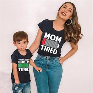 LILIGIRL Famiglia corrispondenza camicia di estate dei vestiti della figlia della madre Batteria Figlio stampa del fumetto Top Mommy and Me magliette a maniche corte