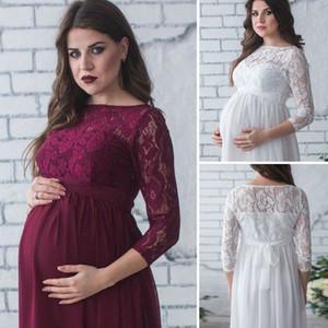 Sexy Maternidade Maxi Vestidos Mulheres Grávidas Fotografia Adereços Roupas Fancy Dress