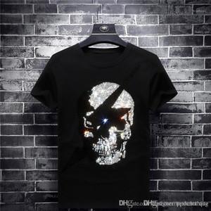 Herren-T-Shirts Short Sleeve O Ausschnitt Hot Drilling Schwarz Herren-Oberteile Mode Male Modal Tees Marke Schädel Designer