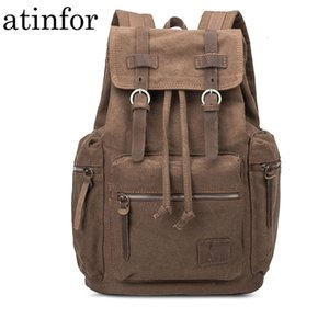 Leather with Canvas Men Vintage Backpack School Male Anti Theft Drawstring Laptop Bagpack Travel Book Bags for Boys