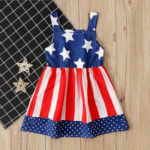 Bebés Meninas Roupas crianças Independence Day Vestido Meninas Estrela bandeira da listra Imprimir US American Princess veste bebê suspender C585 sem mangas