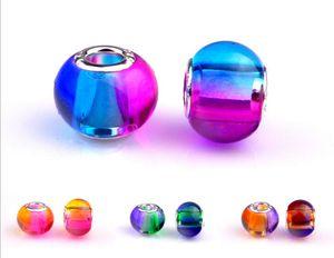 6 Цветов Очарование Стеклянные Бусины Подвески Murano Отверстия для Пандоры Ожерелье Браслет Ювелирные Изделия DIY Аксессуары