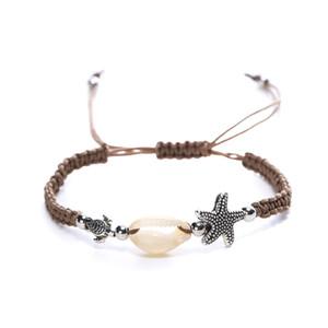 Bracelet tressé unisexe - Bracelet tissé à la main, bracelet, avec coquilles, étoile de mer, bijoux de style hawaïen, grand surfer - ajustable pour l'été et l'être