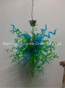 Custom Made Blown Art Glass Chandelier Modern cristal verde Murano vidro Fonte de Luz LED de suspensão pequeno cadeia barato Chandelier