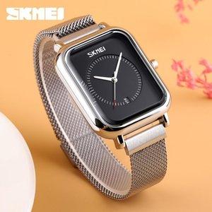 SKMEI Casual Mulheres Quartz elegante relógio de pulso impermeável Moda Magnet Watch Band retangular Disque Zegarek Damski 9207