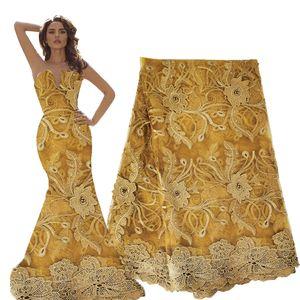 düğün 3D altın Afrika organze dantel kumaşları 2020 embriodery kord kenar dantel kumaş Fransız tül net gipür dantel kumaş