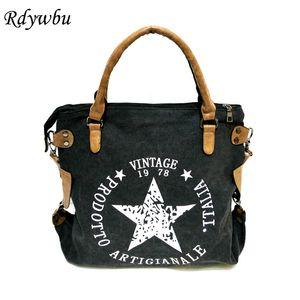 Rdywbu VINTAGE BIG STAR PRINTED CANVAS TOTE HANDBAG - Women's Multifunctional Travel Shoulder Bag Letters Messenger Bolsos B211 CJ191210