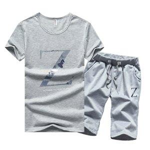 Homens Tracksuits Verão Dois Peças Conjuntos Mens Tshirts Shorts Casual Tracksuit Set Homens Fitness Gym Marca Sportswear Masculino Grey Black