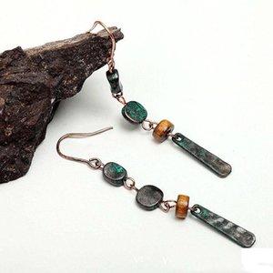 Verde Brinco Folk-custom Simples selvagem Alloy Vintage frisado longa se Brinco Moda Personalidade Upscale Wild Women jóias de Brincos