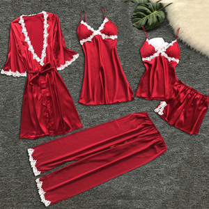 Más del tamaño de las mujeres pijamas camisón pijamas ropa de dormir lencería sexy verano pijama mujeres establecen cinco piezas pijamas verano mujer # 15