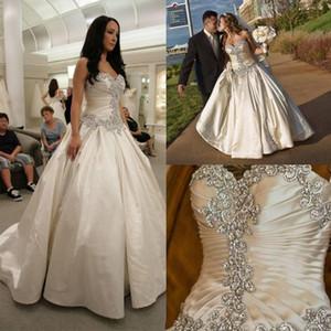 Elegant Satin Wedding Dresses Crystal Sweetheart Neck Bridal Gowns Ruffles Beads Sweep Train Beach Wedding Dress Vestidos
