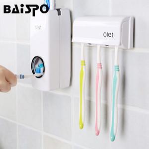 BAISPO 1 Set Tooth Brush Holder Dispenser automatico di dentifricio spremiagrumi 5Toothbrush Holder montaggio a parete Accessori stand da bagno
