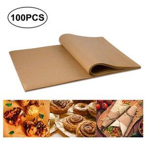 100 PCS Parchment Paper Sheets Precut Unbleached Baking Paper Non-Stick Cookie Sheet Paper TB Sale Y200612