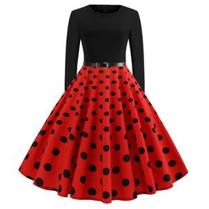 Новый ретро Черный Красный темно-синий горошек женщина повседневные платья большие качели осень-весна с длинными рукавами платье старинные с поясом Vestido FS6137