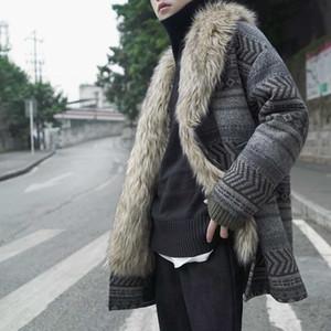 Men's Wool & Blends Winter Man Woolen Overcoat Windbreak Thickening Fur Collar Plaid Lattice Jacket Vintage Men Coats Jackets