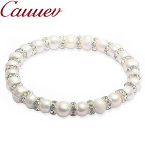Cauuev Natural Freshwater 8-9 Baroque Pearl Bracelets Bangles For Women Vintage elastic Baroque pearl jewelry Charm Bohemian CX200702