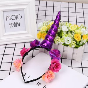 Baby Cosplay Party Unicorn Flower Horn Повязка на голову Hairband Повседневная реквизит Всесезонный Цветок, 25 см