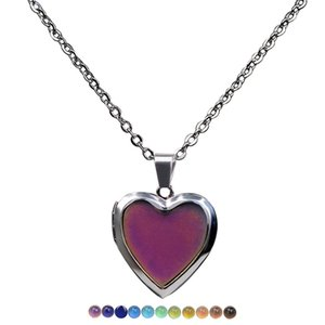 Fashion can open heart changing color necklace stainless steel thermochromic lover Valentine's Day pendants gifts wholesale with chain