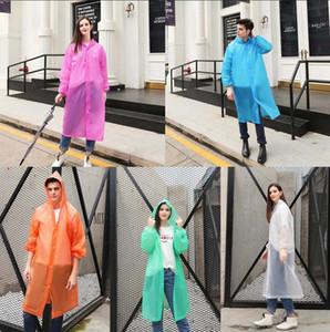 PEVA Raincoat 5 couleurs réutilisables Manteau de pluie Transparent femmes adultes randonnée en plein air imperméable Imperméables Veste LJJO7846