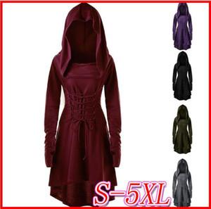 2019 nuevo traje de Halloween del S-5XL vestido de señora con capucha Edad Media Renacimiento Disfraces de Halloween Cosplay Hunter Archer medieval del vendaje de la vendimia