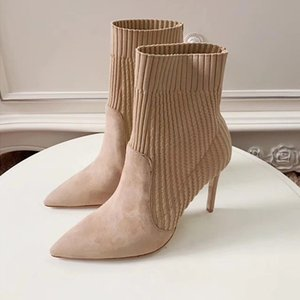 Frauen spitzen Zehen Knöchel HLAF Stiefel High Heel 5-8cm Wollsocken-like Booties Damen High Top Fashion Knit Stiefel Heel Größe 34-40 Schwarz Nude
